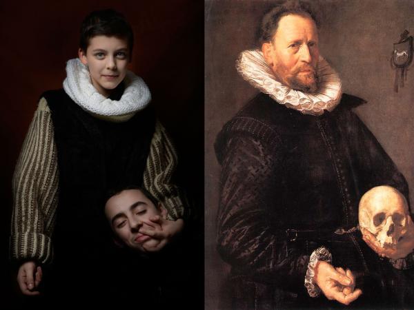 Frans Hals_ Portrait d'un homme tenant un crâne